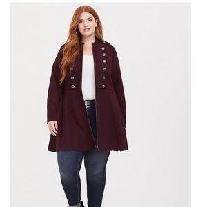 Torrid wine tasting military jacket coat